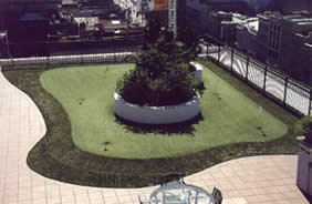 hotel landscaping with synthetic artificial grass